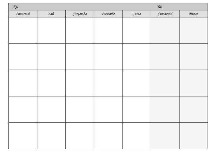 Aylık Takvim İndir | Aylık Planlama Takvimi | Her aya uygun şablon PDF